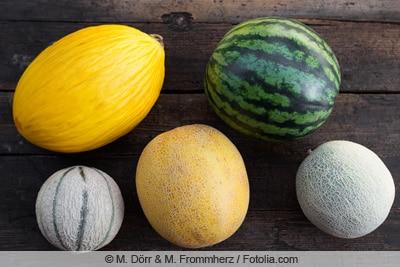 Verschiedene Melonensorten auf Tisch