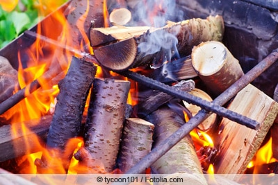 Brennendes Holz im Grill