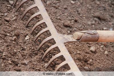 Boden lockern mit Rechen