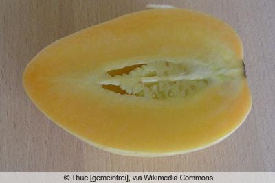 Aufgeschnittene Melonenbirne im Profil
