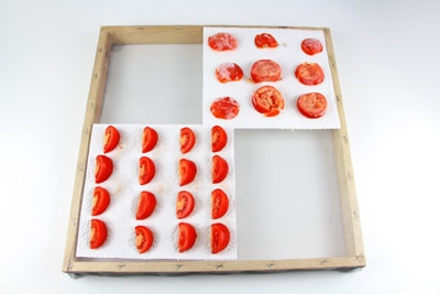 Tomaten auf Dörrgitter