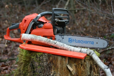 Kettensaege auf Baumstamm