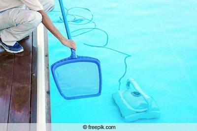 Würmer und Maden im Pool - Poolreinigung mit Kescher und Poolsauger