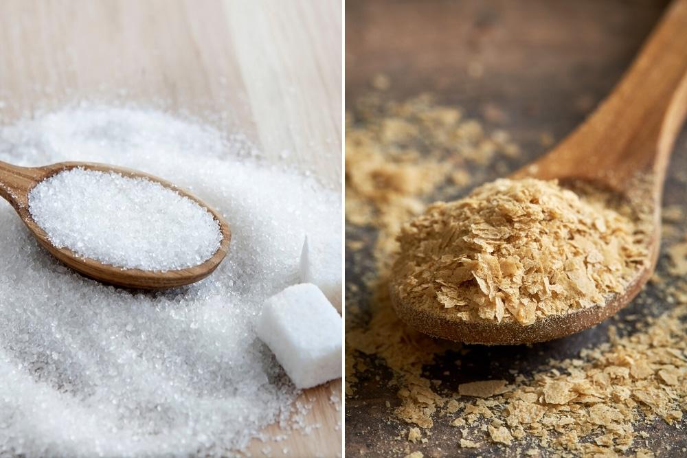 Zucker und Hefeflocken als Dünger
