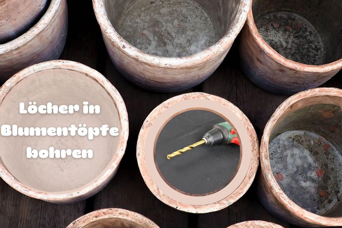 Pflanzkübelentwässerung - Bohrmaschine und Blumentöpfe