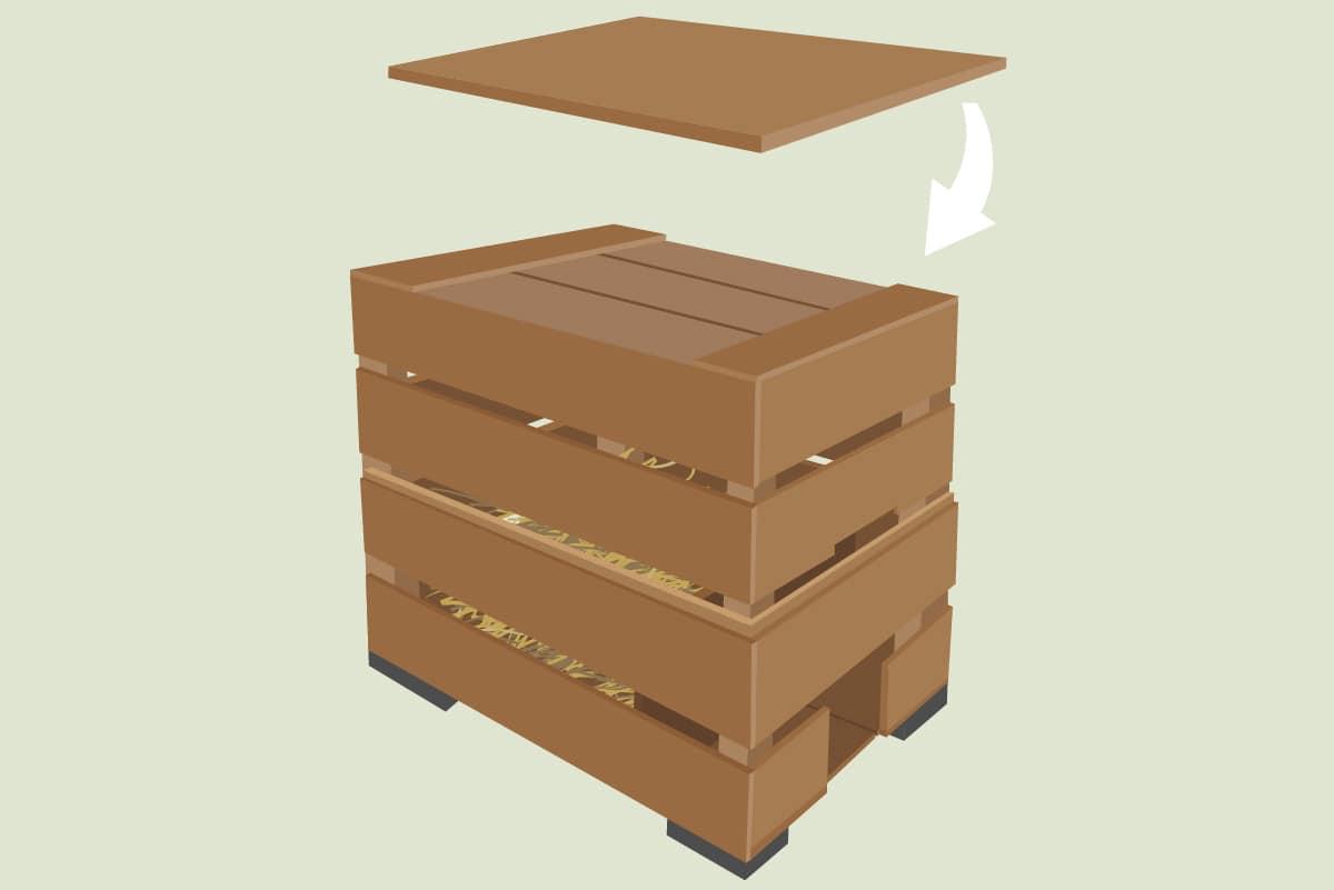 Igelhaus bauen - Weinkisten-Modell