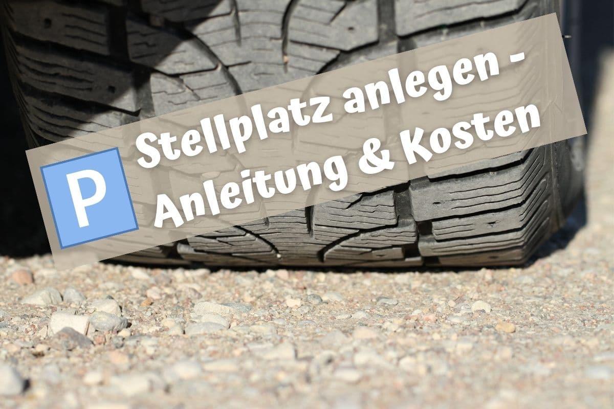 Schotterparkplatz anlegen - Autoreifen auf Stellplatz