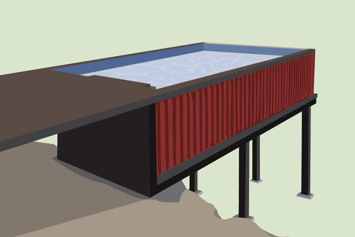 Containerpool auf Stelzen