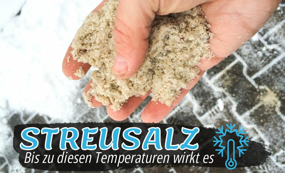 Salz streuen - Streusalz in Hand